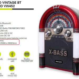 PARLANTE PHILCO VINTAGE BLUETOOT VW-452 200x120x280