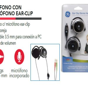 AUDÍFONO CON MICRÓFONO GENERAL ELECTRIC PARA PC, 2 CONECTORES 3.5mm
