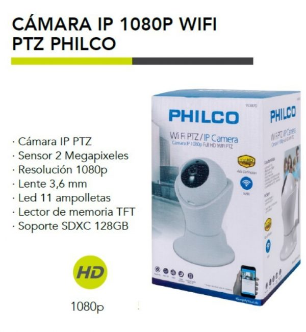 CAMARA PHILCO W3870 IP 1080P FULL HD WIFI PTZ