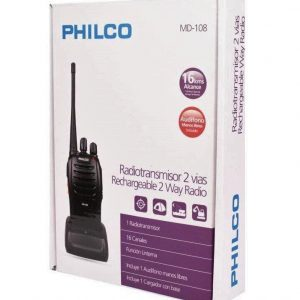 RADIOTRANSMISOR 2 VIAS PHILCO KIT INTERCOMUNICADOR PORTATIL C/CARGADOR Y MANOS LIBRES MD-108