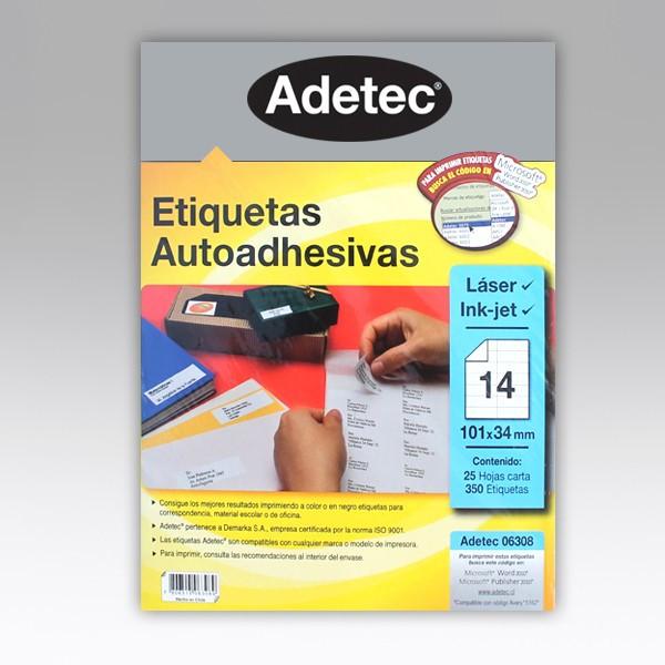 ETIQUETA ADETEC 6308 CARTA 25H (14 ETIQUETAS X HOJA)
